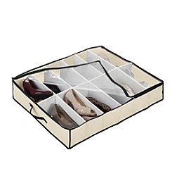 Simplify Cream 12-Pair Under-The-Bed Shoe Organizer with Black Trim
