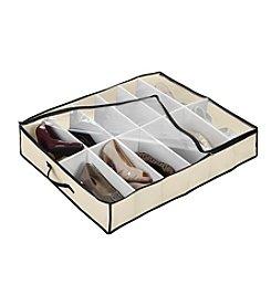 Simplify Cream 12-Pair Under-The-Bed Shoe Organizer with Black Trim