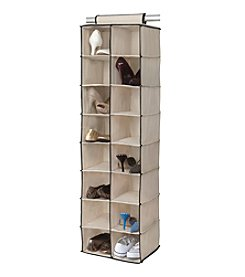 Simplify Cream 16-Shelf Hanging Closet Organizer Black Trim