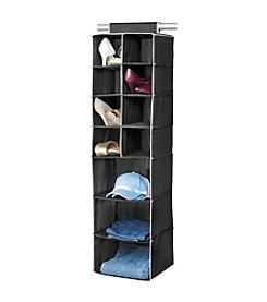 Simplify Black 11-Shelf Hanging Closet Organizer with Cream Trim