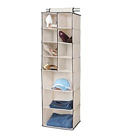 Simplify Cream 11-Shelf Hanging Closet Organizer with Black Trim