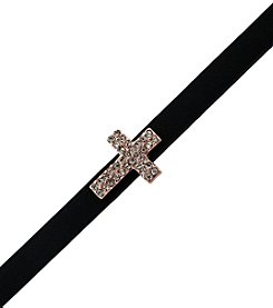 BCBGeneration™ Rose Goldtone, Crystal and Black Petite Amie Cross Bracelet