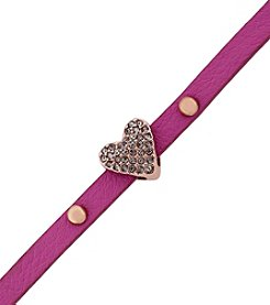 BCBGeneration™ Rose Goldtone, Pink and Crystal Petite Amie Pave Heart Bracelet