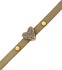 BCBGeneration™ Goldtone, Cream and Crystal Petite Amie Pave Heart Bracelet