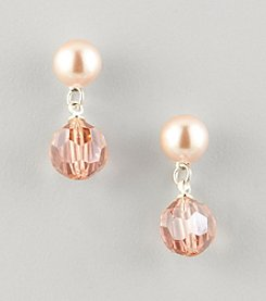 Studio Works® Pink Pearl Post Drop Earrings