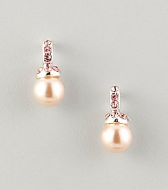 Studio Works® Pink Pearl Hoop Top Drop Earrings