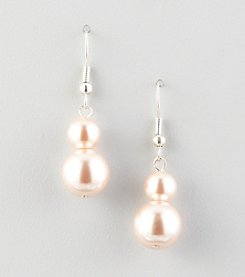 Studio Works® Pink Pearl Two Bead Drop Earrings