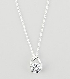 BT-Jeweled Silvertone Round Cubic Zirconia Pendant
