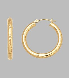 14K Yellow Gold 3mm x 25mm Gold Tube Hoop Earrings