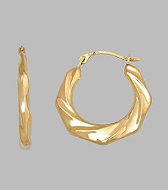 14K Yellow Gold Polished Wave Hoop Earrings