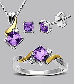 Amethyst & White Topaz Box Set in Sterling Silver & 14K Gold