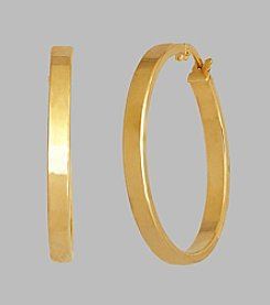 14K Yellow Gold 30mm Square Tube Hoop Earrings