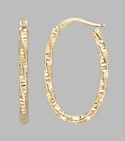 14K Yellow Gold 2.5mm Twisted Oval Hoop Earrings
