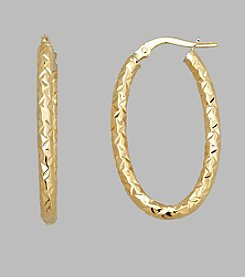 14K Yellow Gold 2.5mm Textured Oval Hoop Earrings