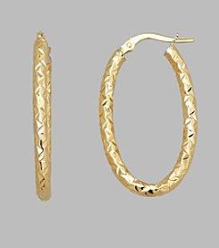 14K Yellow Gold 2.5mm Textured Oval Hoop Earrings