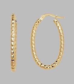 14K Yellow Gold 2.5mm Beaded Oval Hoop Earrings