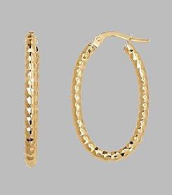 14K Yellow Gold 2.5mm Beaded Oval Hoop Earrings