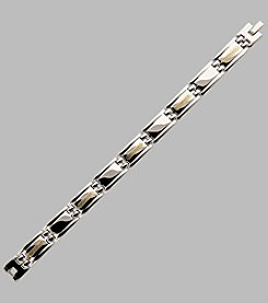 Stainless Steel with 14K Yellow Gold Greek Link Bracelet