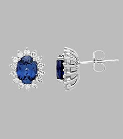 Created Blue and White Sapphire Earrings in Sterling Silver