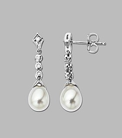 Freshwater Pearl and 0.12 ct. t.w. Diamond Drop Earrings in Sterling Silver