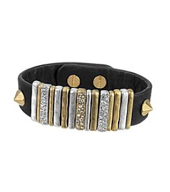 The Sak® Black/Two Tone Leather Pave Slider Bracelet