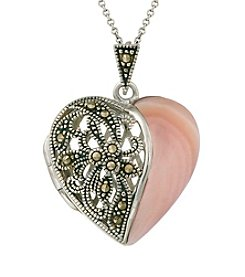 Designs by FMC Silver-plated Marcasite and Pink Shell Locket Boxed