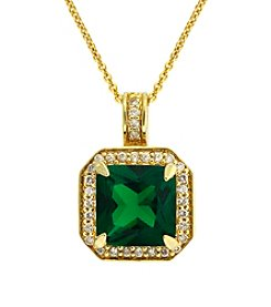 Designs by FMC Gold-plated Created Green Quartz Cubic Zirconia Square Necklace Boxed