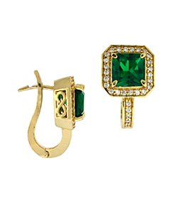 Designs by FMC Gold-plated Created Green Quartz Cubic Zirconia Square Earrings Boxed