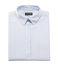 John Bartlett Statements Men's White/Blue Long Sleeve Check Broadcloth Dress Shirt