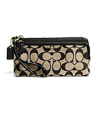 COACH MADISON DOUBLE ZIP WALLET IN SIGNATURE FABRIC