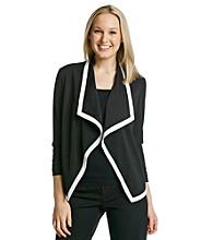 Evan Picone® Long Sleeve Drapefront Contrast Piping Jacket