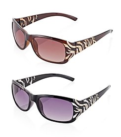 Relativity® Medium Rectangle with Animal Temple Sunglasses
