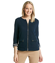Jones New York Signature® Navy French Terry Jacket With Striped Detail