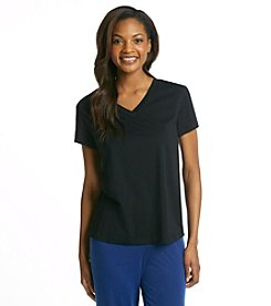 HUE® Classic Knit V-Neck Top - Black