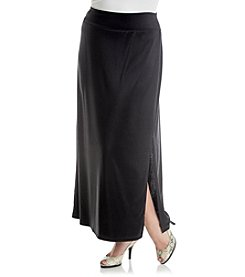 AGB® Plus Size Ottoman Maxi Skirt With Side Slit