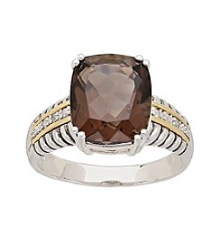 Sterling Silver with 14K Yellow Gold 12mm x 10mm Smoky Quartz Ring