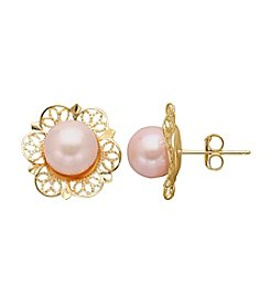 14K Yellow Gold 7.25mm Pearl Filigree Stud Earrings