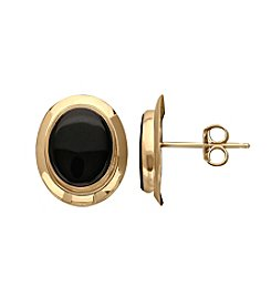 14K Yellow Gold 8mm X 10mm Oval Onyx Button Earrings