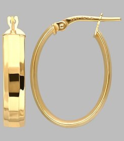14K Yellow Gold Wide Oval Hoop Earrings