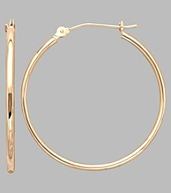 14K Yellow Gold Polished Tube Hoop Earrings