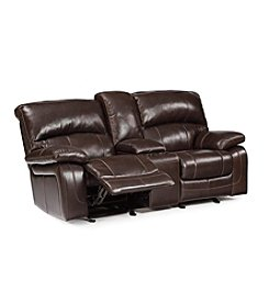 Berkline Mainstation Glider Reclining Sofa with Storage Console