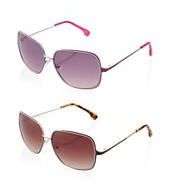 Jessica Simpson Square Metal Glam Sunglasses