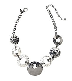 Laura Ashley® Hematite Hammered Disc Necklace