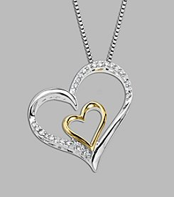 0.125 ct. t.w. Diamond Heart Pendant Necklace in Sterling Silver & 14K Gold