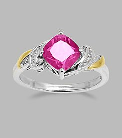 Created Pink & White Sapphire Ring in Sterling Silver & 14K Gold
