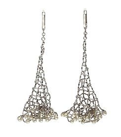 Effy® Freshwater Pearl Mesh Earrings in Sterling Silver