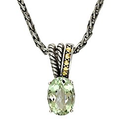 Effy® Green Amethyst Pendant Necklace in Sterling Silver & 18K Gold