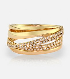 Effy® 0.30 ct. t.w. Diamond Layered Band Ring in 14K Yellow Gold