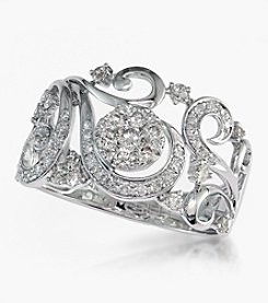 Effy® 0.53 ct. t.w. Diamond Open Floral Ring in 14K White Gold