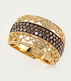 Effy® 0.63 ct. t.w. Brown/White Diamond Band Ring in 14K Yellow Gold